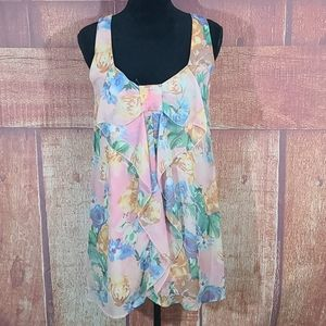 Everly Floral Sleeveless Layered Sheer Dress